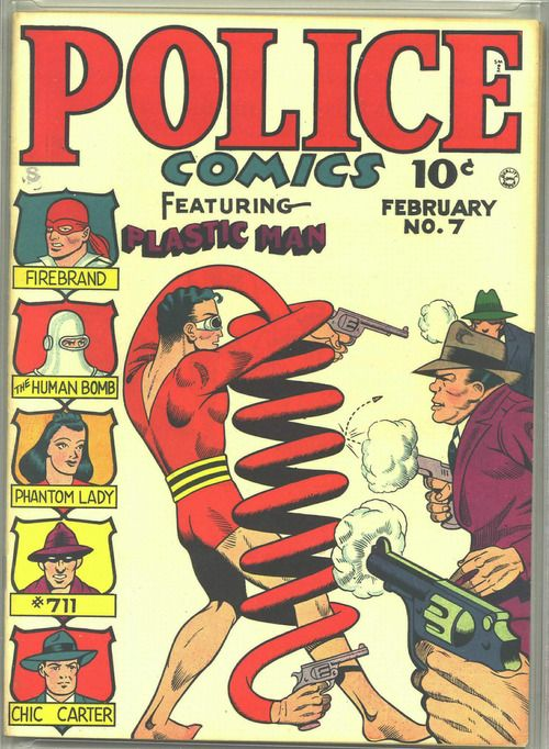 Police Comics #7, february 1942, cover by Gil Fox.