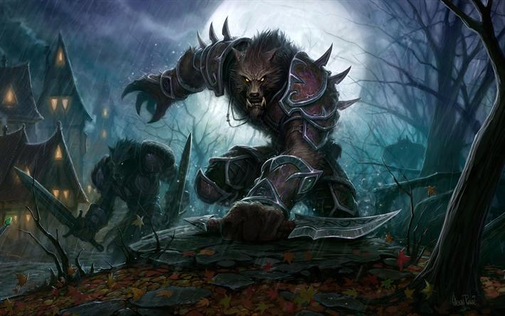 Download Wallpapers Worgen Art Monsters World Of Warcraft Wow Besthqwallpapers Com World Of Warcraft Wallpaper Warcraft Art World Of Warcraft