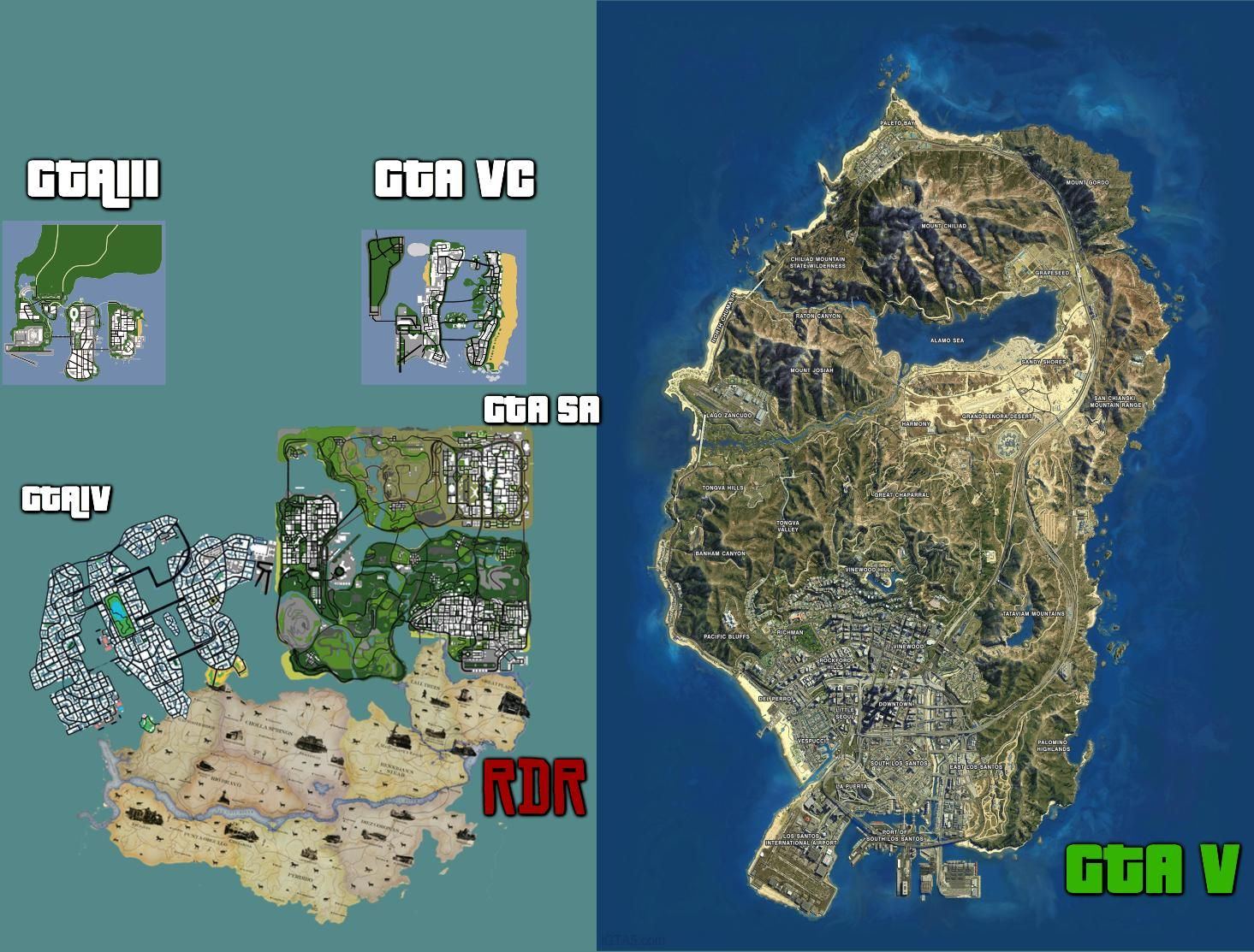 Comparing the Maps of Past Rockstar games via Reddit user
