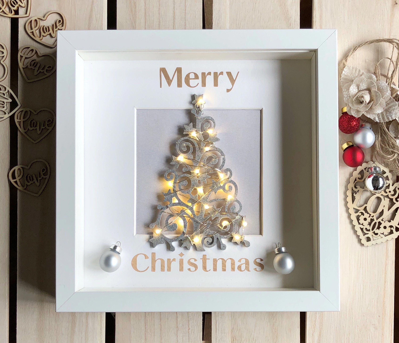 Christmas Light Up Box Frame Decoration Christmas Decoration Merry Christmas Light Up Tree By A Christmas Box Frames Christmas Shadow Boxes Christmas Frames
