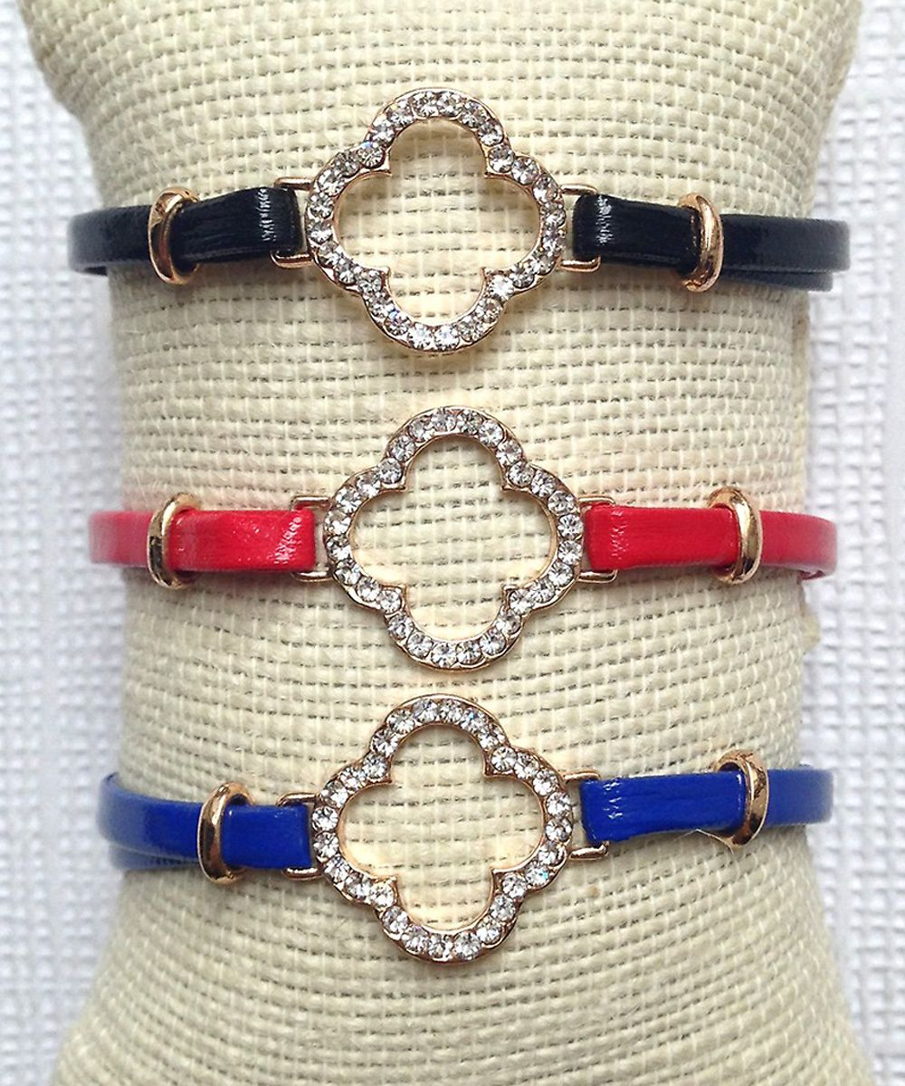 #Jewelry - Golden Clover #Bracelet B71 - Get the preppy chic look with this rhinestone clover charm vegan leather bracelet.