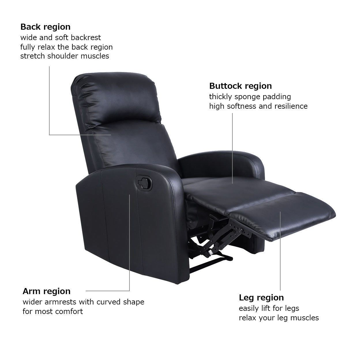 Peachy Black Pu Leather Recliner Massage Chair Sofa Furniture In Ncnpc Chair Design For Home Ncnpcorg