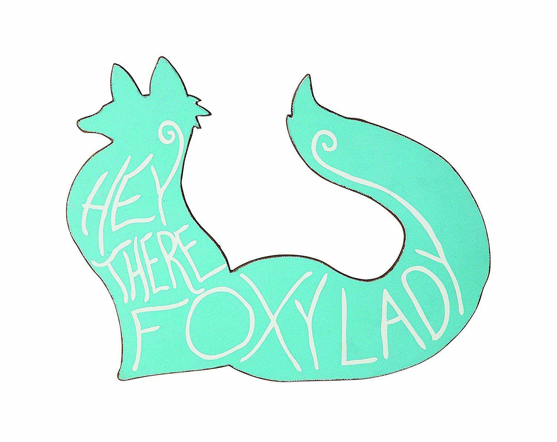 Creative coop hey there foxy lady fox shaped wall decor aqua