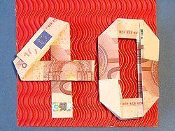 geld falten zum 40 geburtstag
