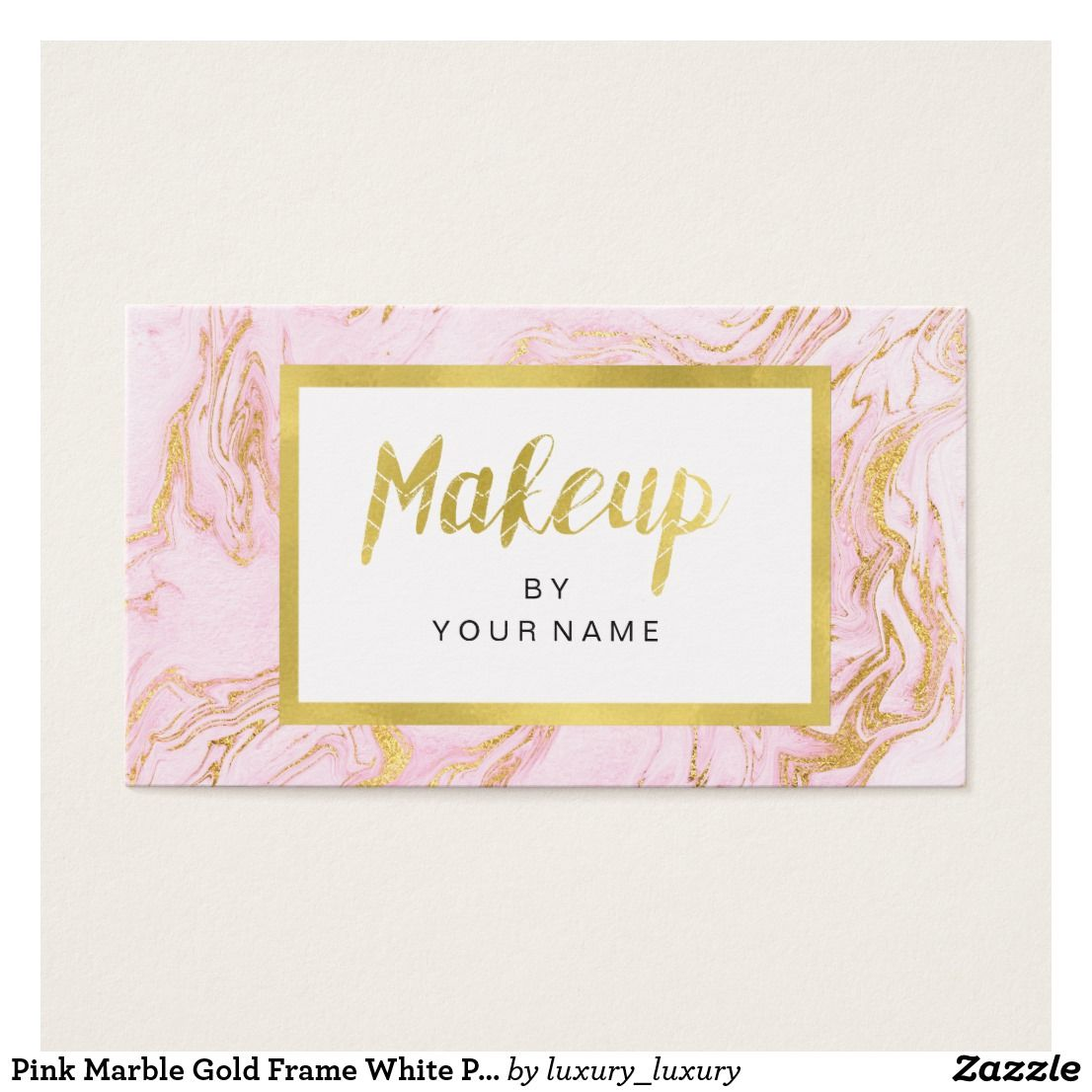 Pink Marble Gold Frame White Pink Makeup Artist Business