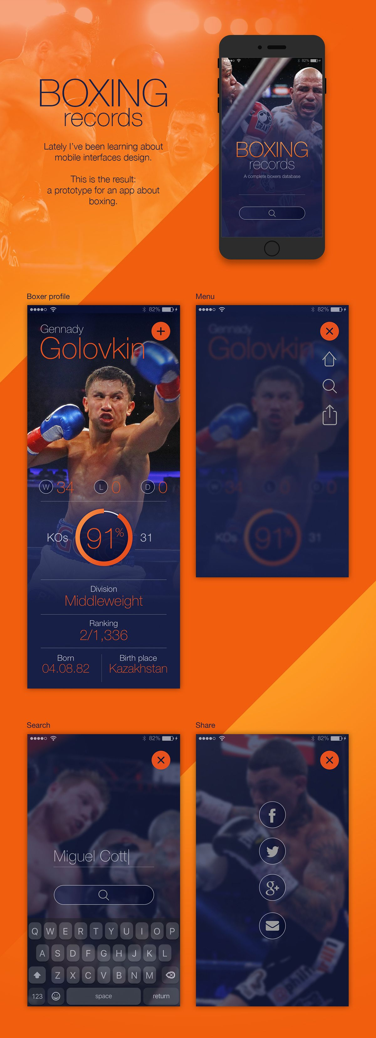 Boxing app on Behance App, Boxing records, Mobile interface