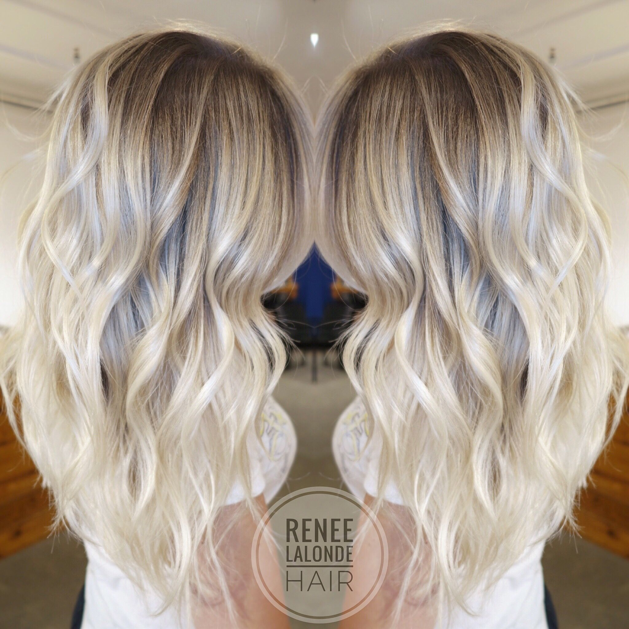 Platinum Blonde Balayage Long Hair Beach Waves | Hairstyle