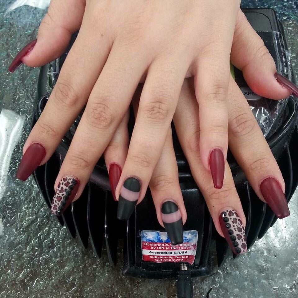 Matte red and black coffin nail design | Nail designs | Pinterest ...