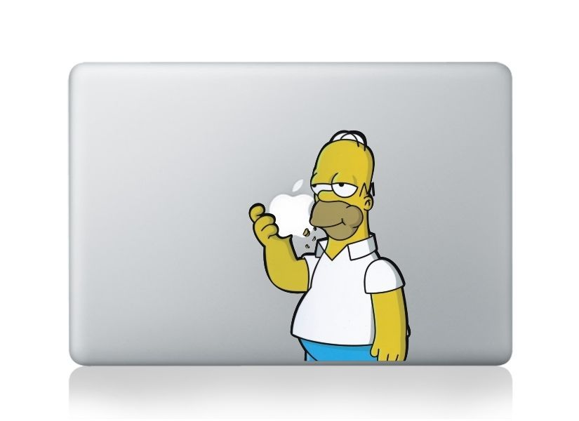 Apple macbook pro 13 15 decal sticker colour vinyl skin homer simpson eating