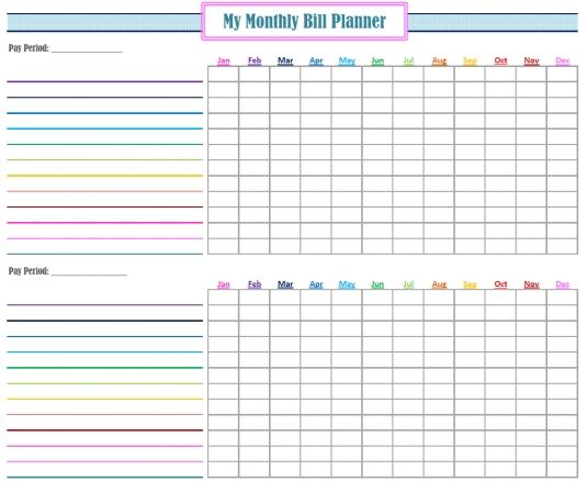 Free Project Planner Template Free Printable Monthly Bill Planner