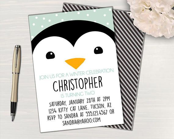 Penguin Party Invitation Penguin Birthday Invitation Penguin