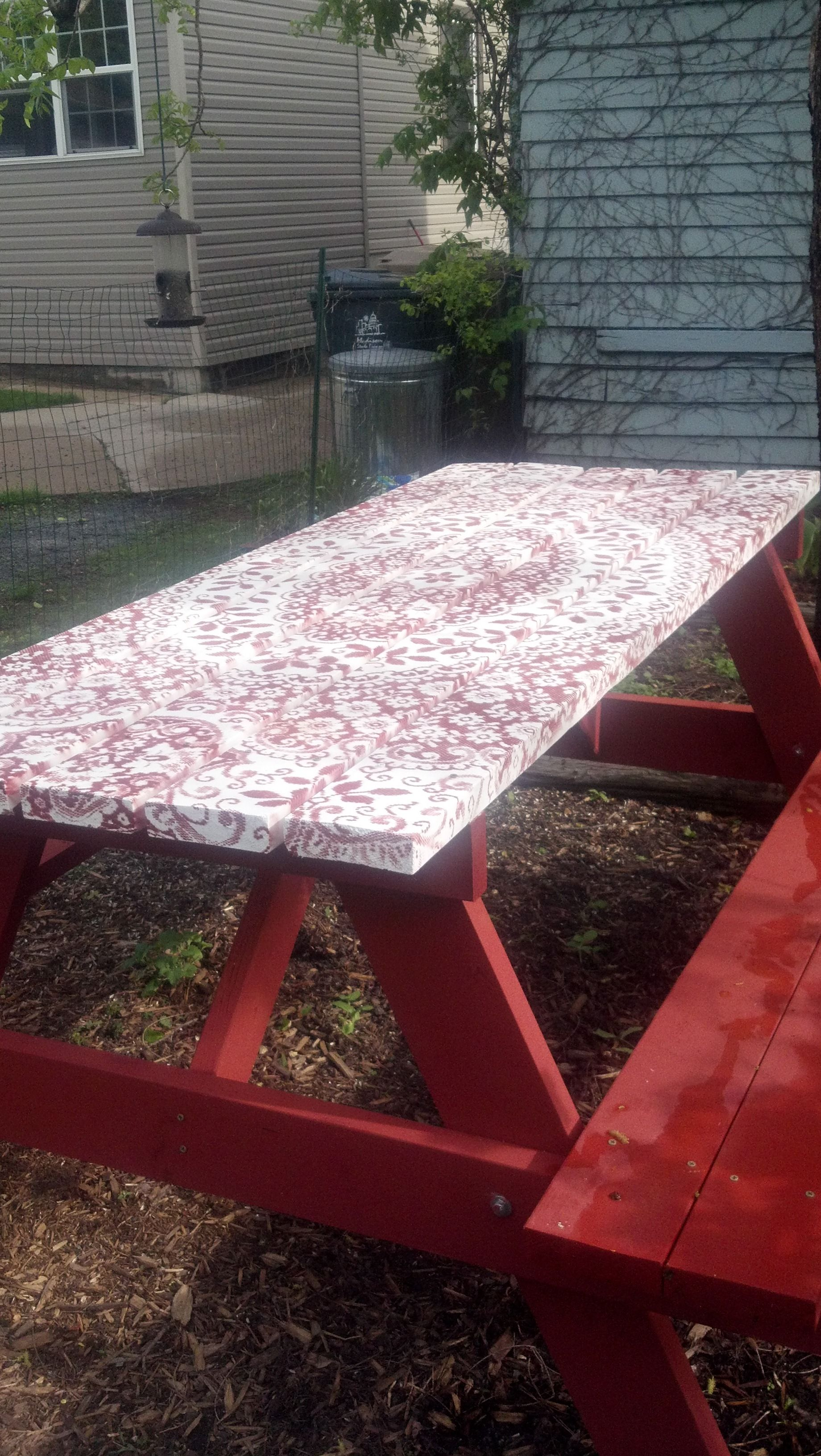 Lace Painted Picnic Table Imagine The Possibilities