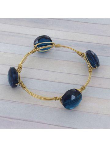 Handcrafted Teal Crystal Bead and Goldtone Wire Bangle #wiredbangle #baubles #designerinspired #baublesandbangles #wiredbracelet