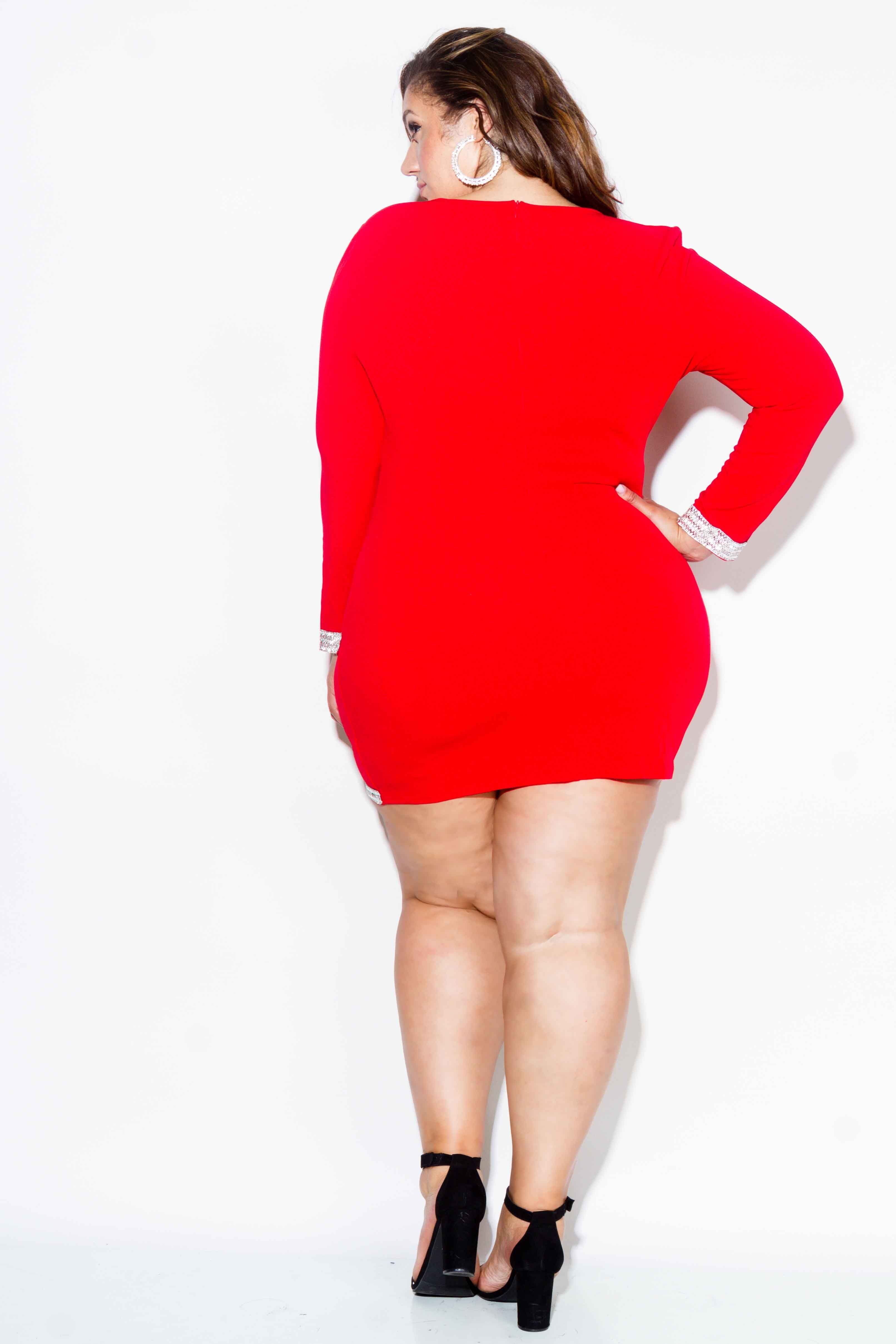 aaf95480c1d Plus Size Embellished Wrap Mini Dress