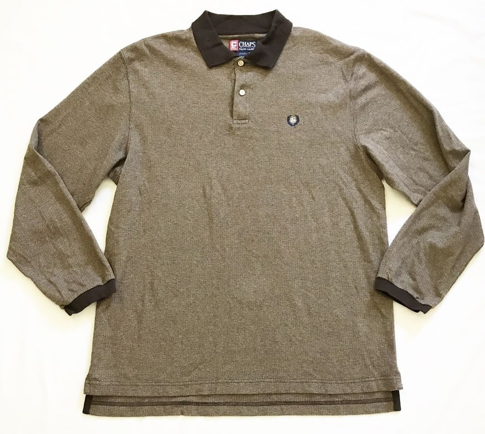 CHAPS by RALPH LAUREN Mens XL Brown Long Sleeve Polo Rugby Knit Shirt  Vintage