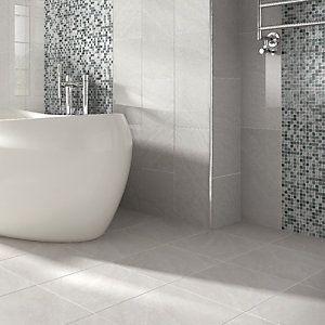 Wickes Mayfield Grey Riven Ceramic Wall Floor Tile 298x498mm