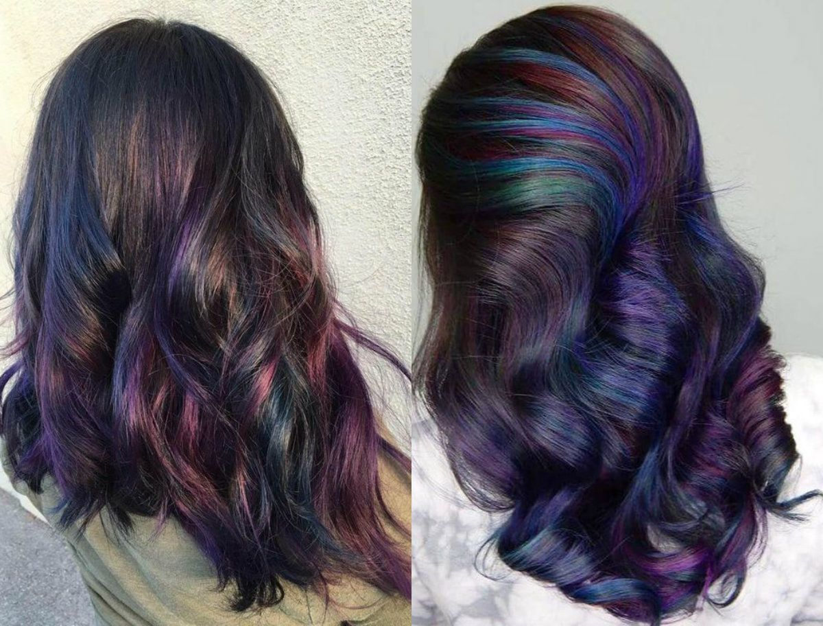 Oil Slick Hair Colors Pastel For Brunettes