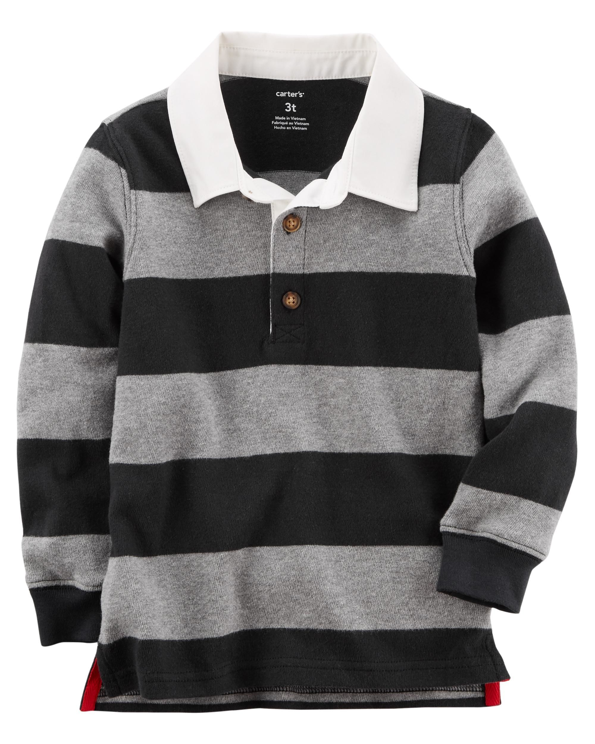 704fe831a7 Toddler Boy Rugby Polo | Carters.com Cute Toddlers, Winter Tops, Kids Boys