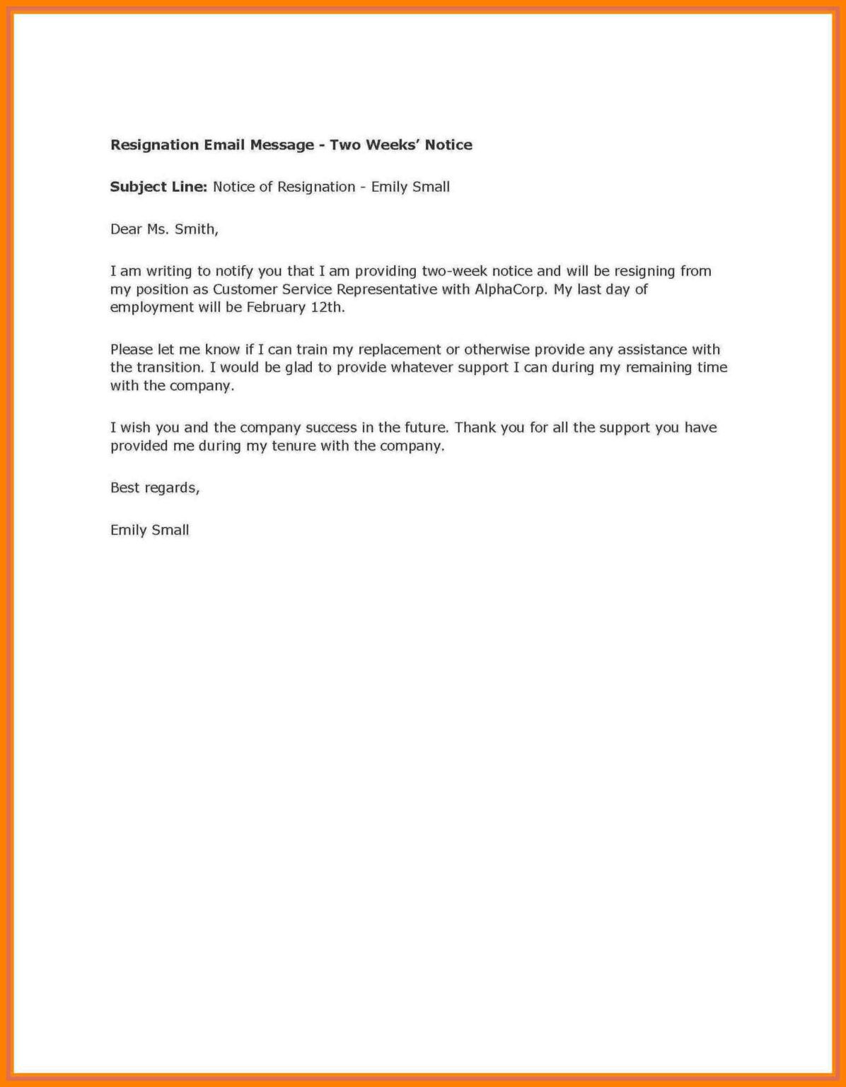 2 Weeks Notice Template Word Raptor.redmini.co within