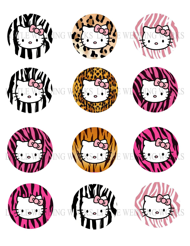 Hello kitty animal print bottle cap images by littleweddingworks