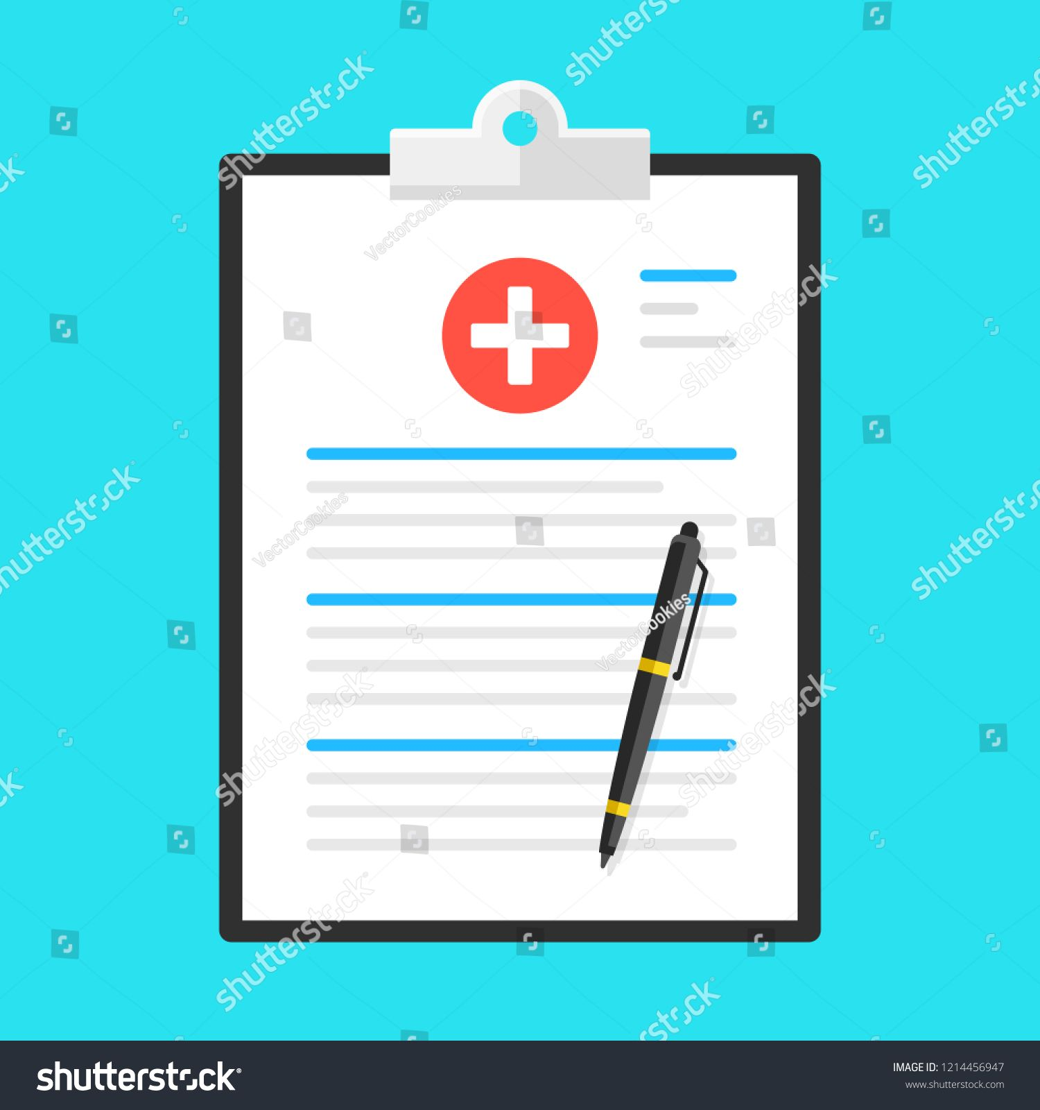Medical Form Health Insurance Medical Clipboard With Pen Flat