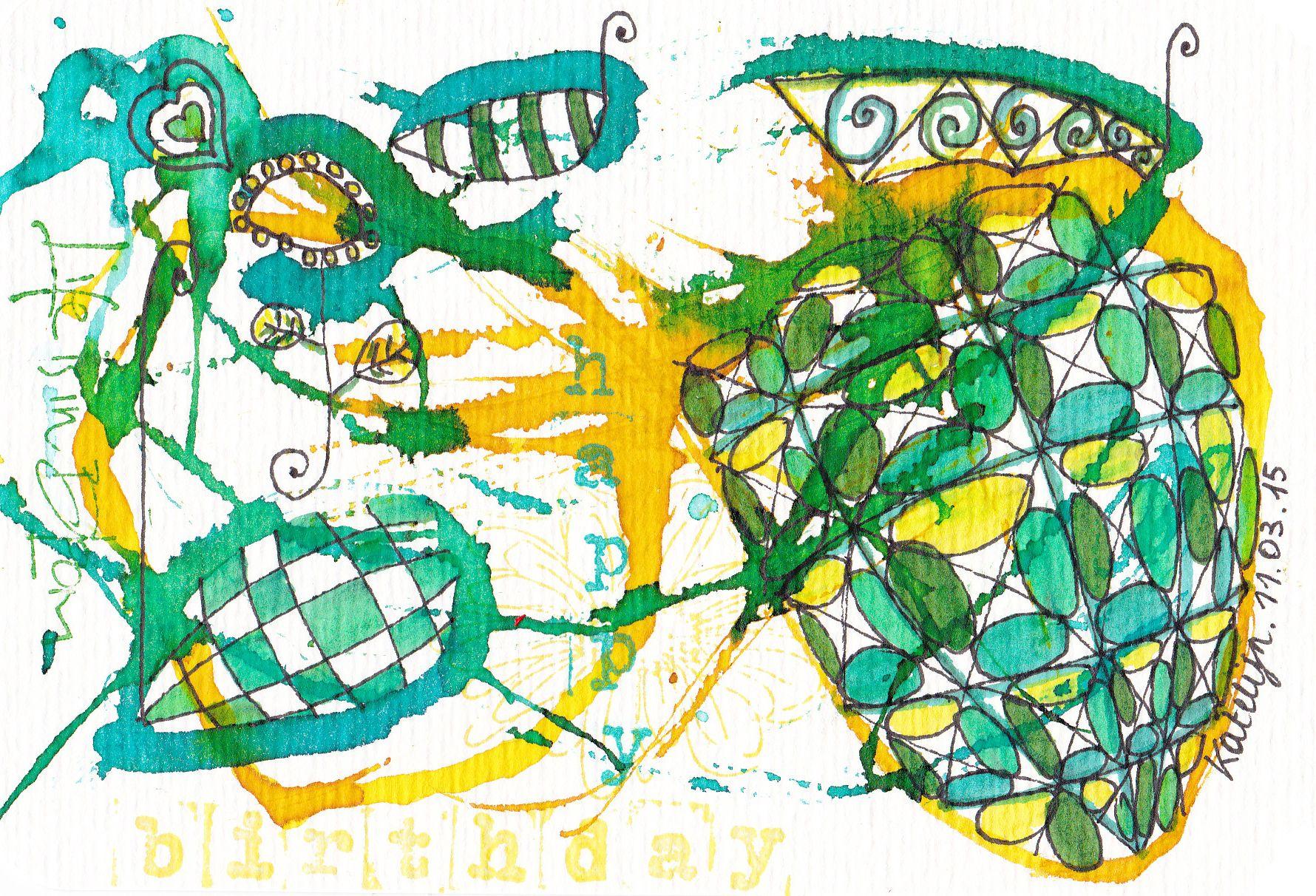 Birthday Card Ecoline Zentangle
