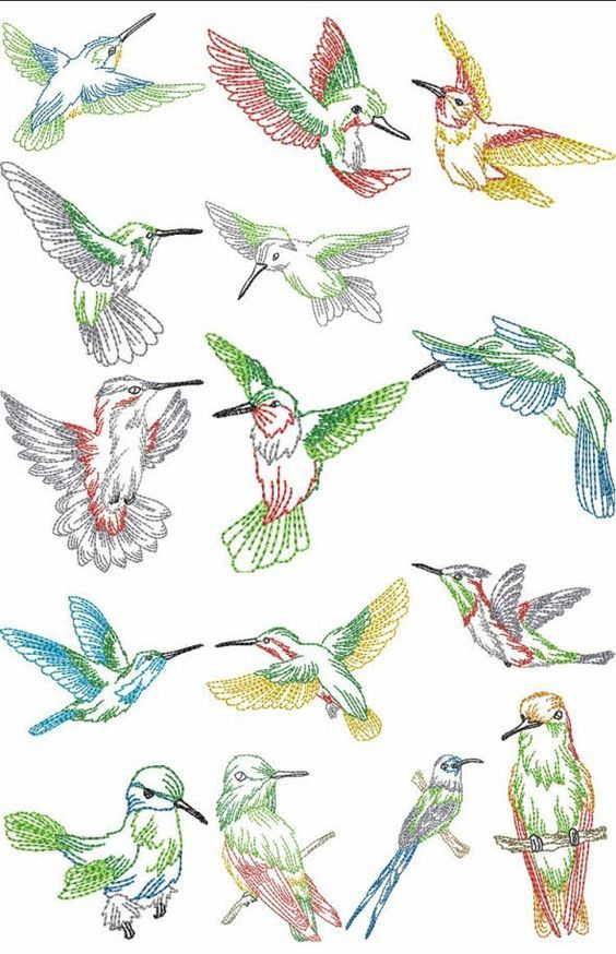 Hummingbird hand embroidery patterns free humming bird