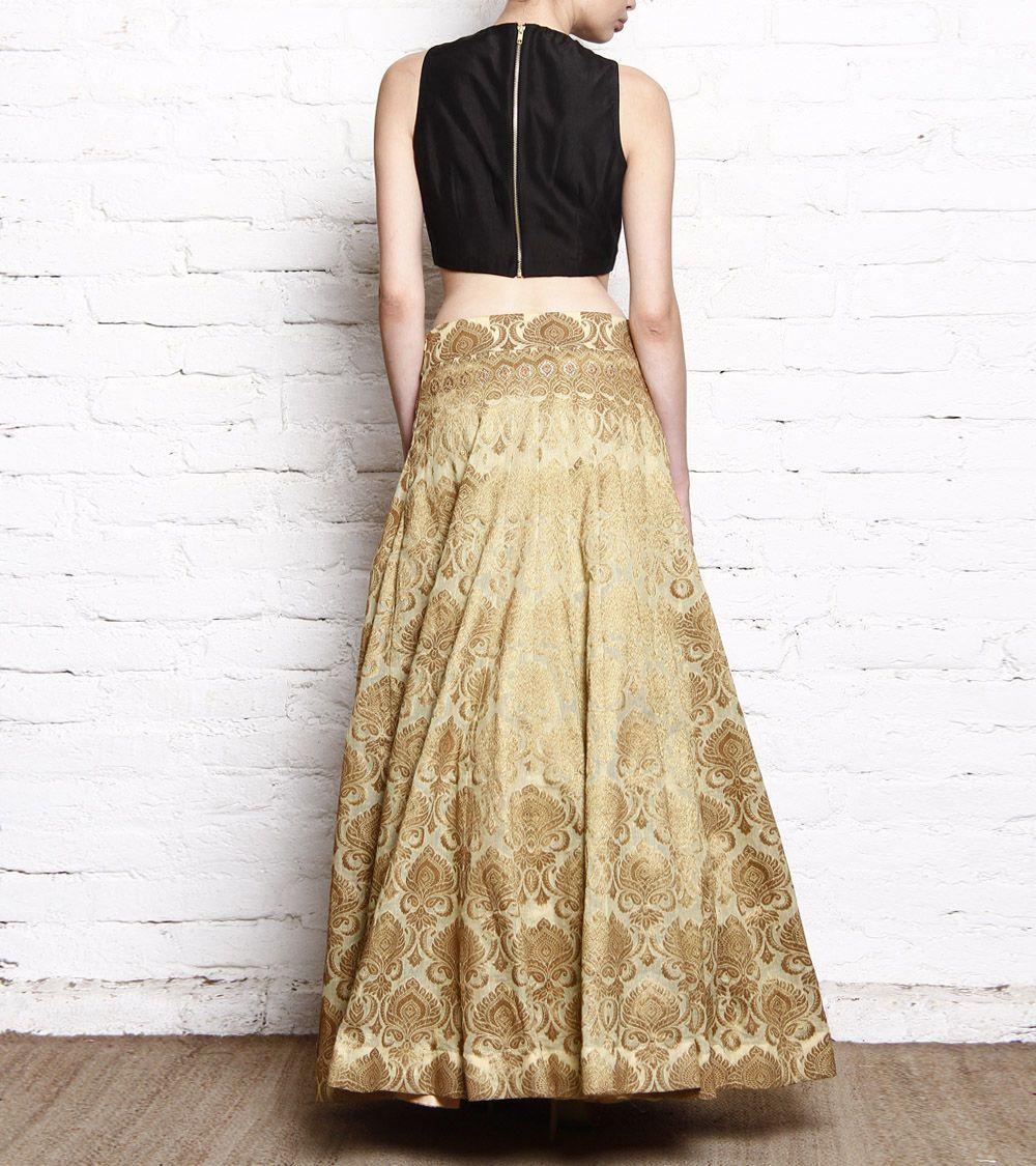 4c41faa368 Golden Banarasi Brocade Lehenga With Black Silk Crop Top   Weddings ...