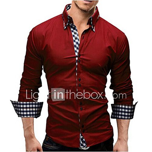 Casual Mens Spring Button Plaid Shirt Color Mens Cotton Long-Sleeved Shirt