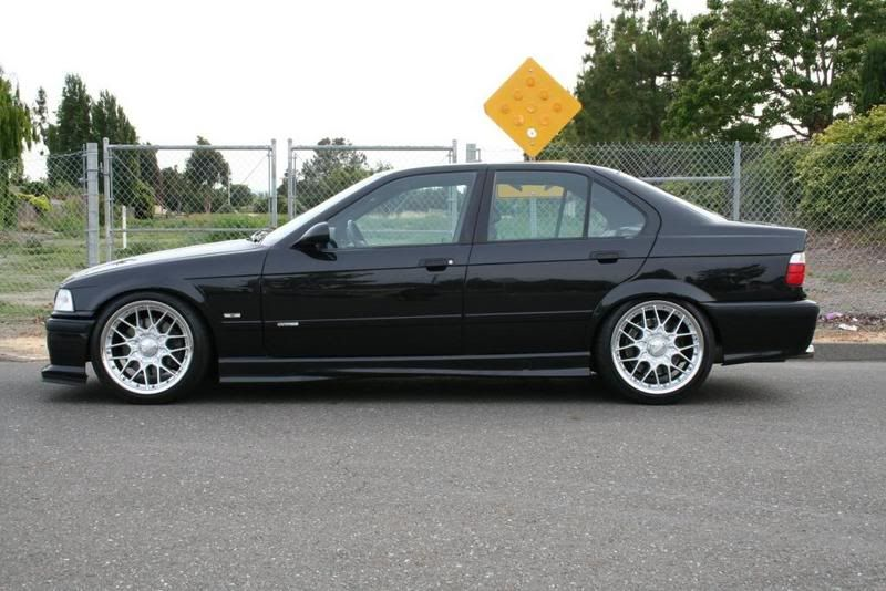 Black Bmw E36 Sedan On Bbs Rsii 18x9 Squared Bmw E36 Bmw Bmw