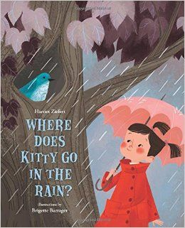 Where Does Kitty Go in the Rain? by Harriet Ziefert. Ages 4 through 8. As a little girl embarks on a search to find her kitty in a rainstorm, she also finds out what other animals do to enjoy--or avoid--a rainy day. Part rhyming couplets and part facts, this is a book that's sure to please everyone!
