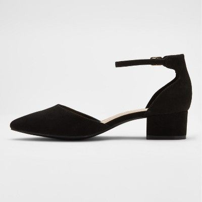 699aacfd7228 Women s Birdie Pointed Low Block Heel Pumps - A New Day Black 12 ...
