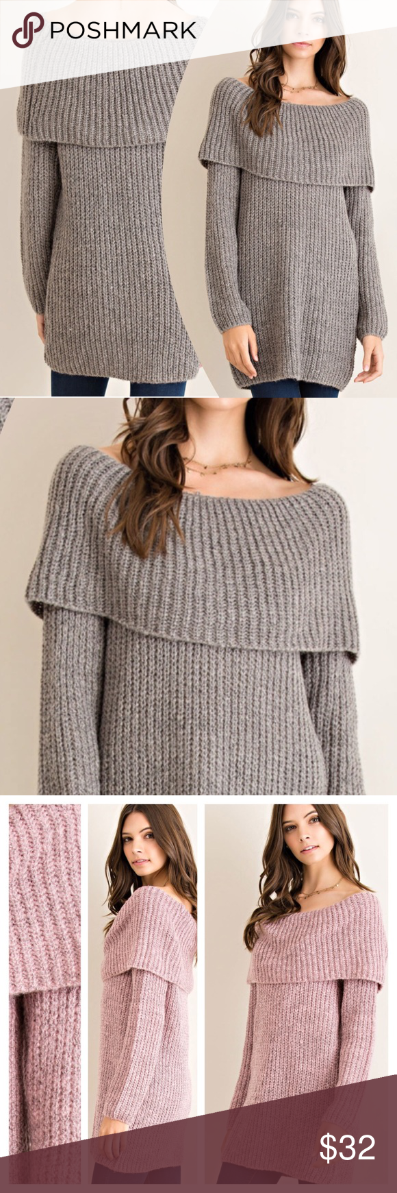 FOLDOVER RIBBED SWEATER A staple for the cooler months! Trendy fold over neck, ribbed material, 70% acrylic/30% polyester. Non sheer, knit, lightweight. IN CHARCOAL. ROSE AND TAUPE AVAILABLE IN SEPARATE LISTINGS. Measurements upon request. tla2 Sweaters Crew & Scoop Necks