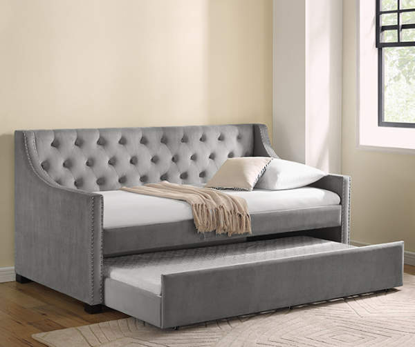 Gray Upholstered Daybed with Trundle Big Lots Daybeds