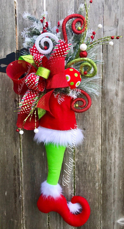Diy grinch christmas decorations - Grinch Stocking Christmas Door Hanger Christmas Wreath Grinch Decor Christmas Decor