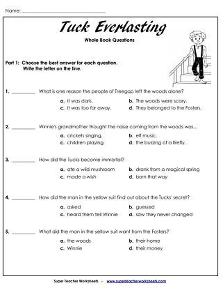Tuck Everlasting Printable Worksheets Tuck Everlasting Everlasting Tuck