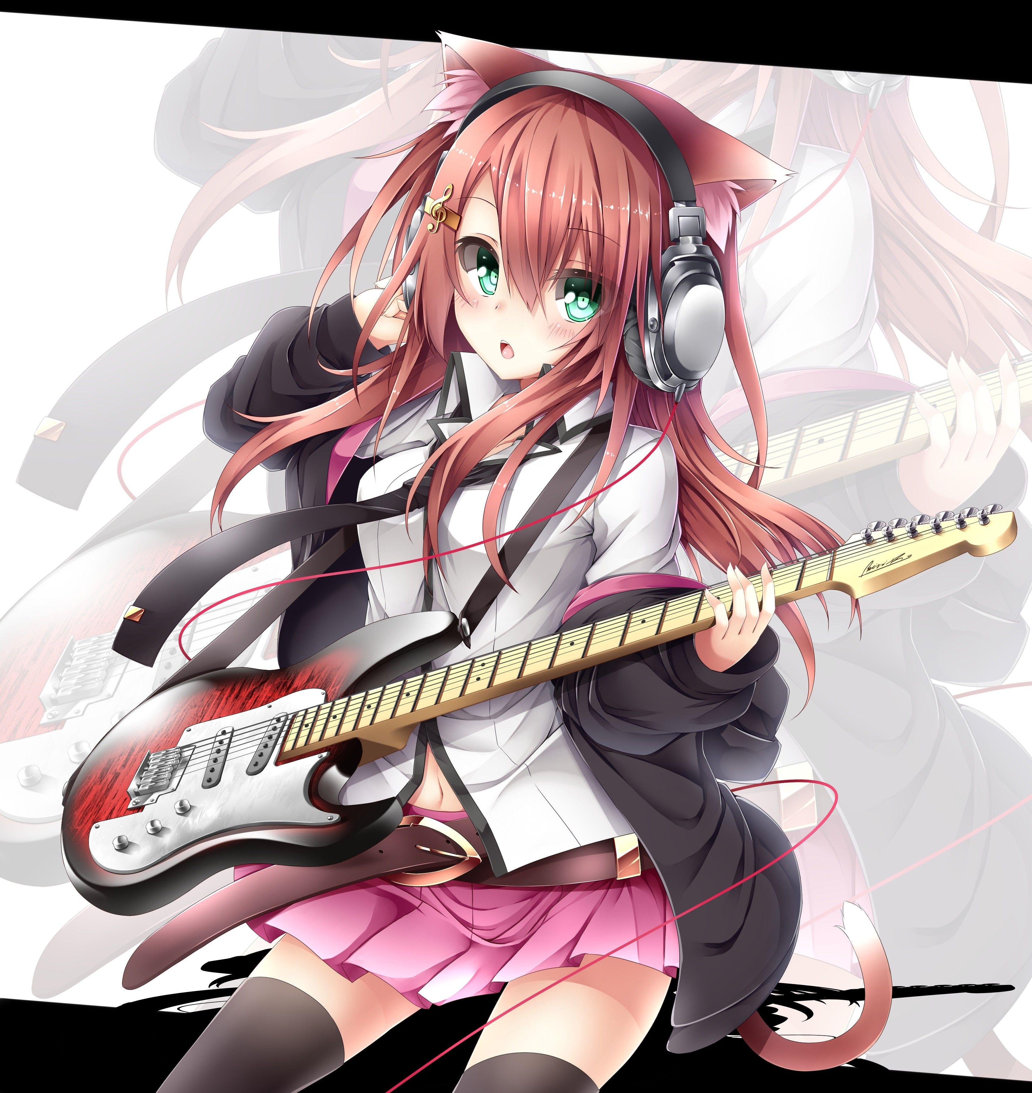 Animal Ears Anime Girls Electric Guitars Guitars Headphones Wallpaper 2893587 Wallbase Cc Cat Girl Nekomimi Anime