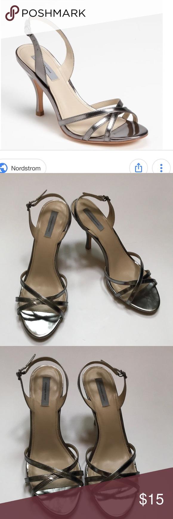 75cb63e49ed7e9 Classique Entier Dani Silver Heels Classique Entier Dani strappy Sandals  size 10.5. Excellent preloved condition
