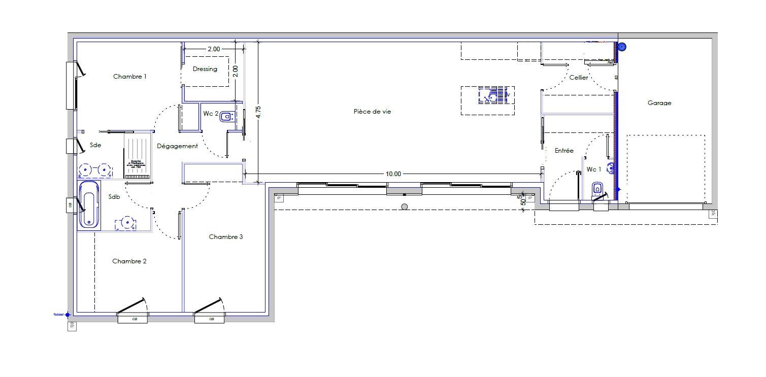 Plan De Maison Plain Pied 3 Chambres Plan Maison Plain Pied Maison Plain Pied Plan Maison 3 Chambres