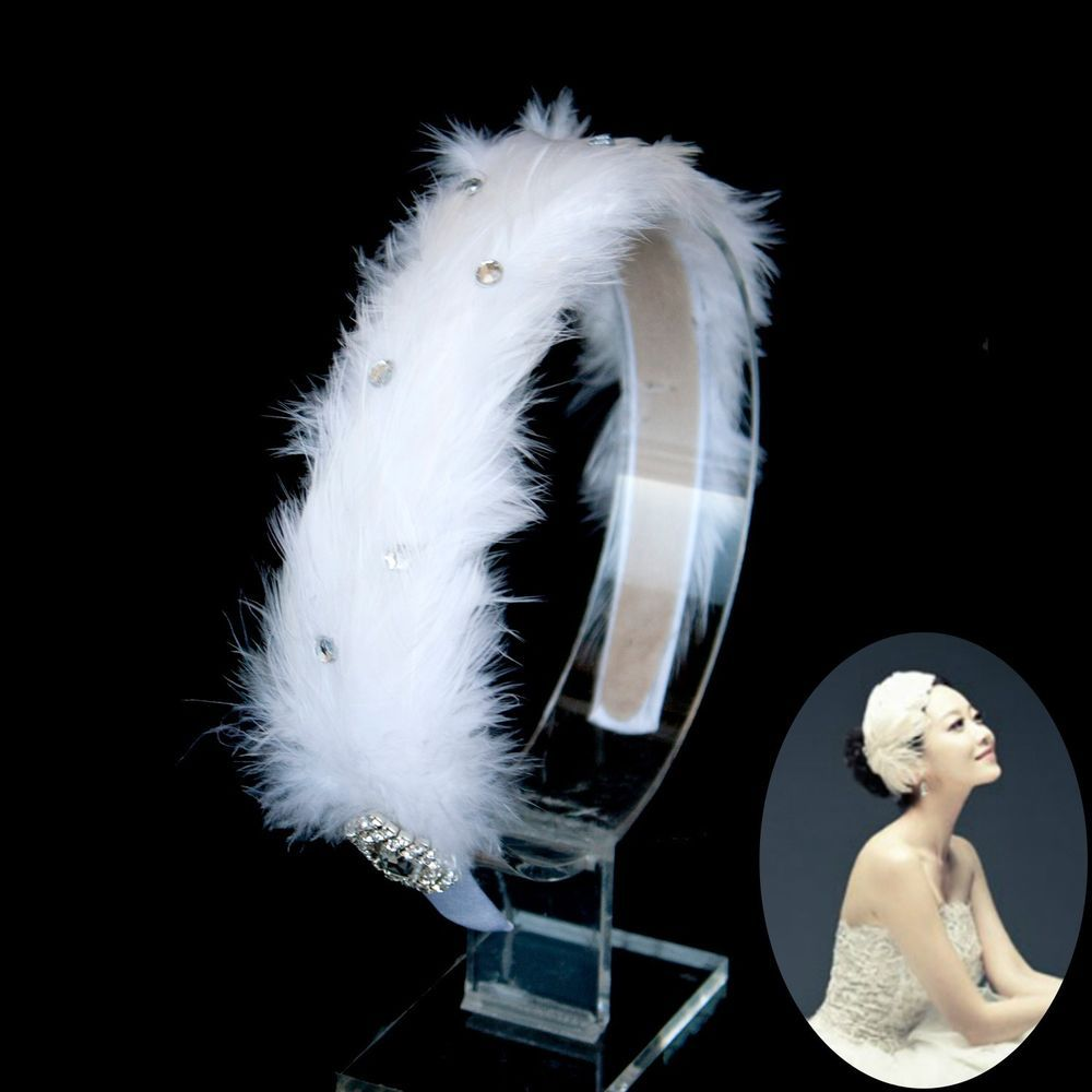 white swan feather rhinestone headband wedding bridal ballerina headpiece bridal accessories. Black Bedroom Furniture Sets. Home Design Ideas