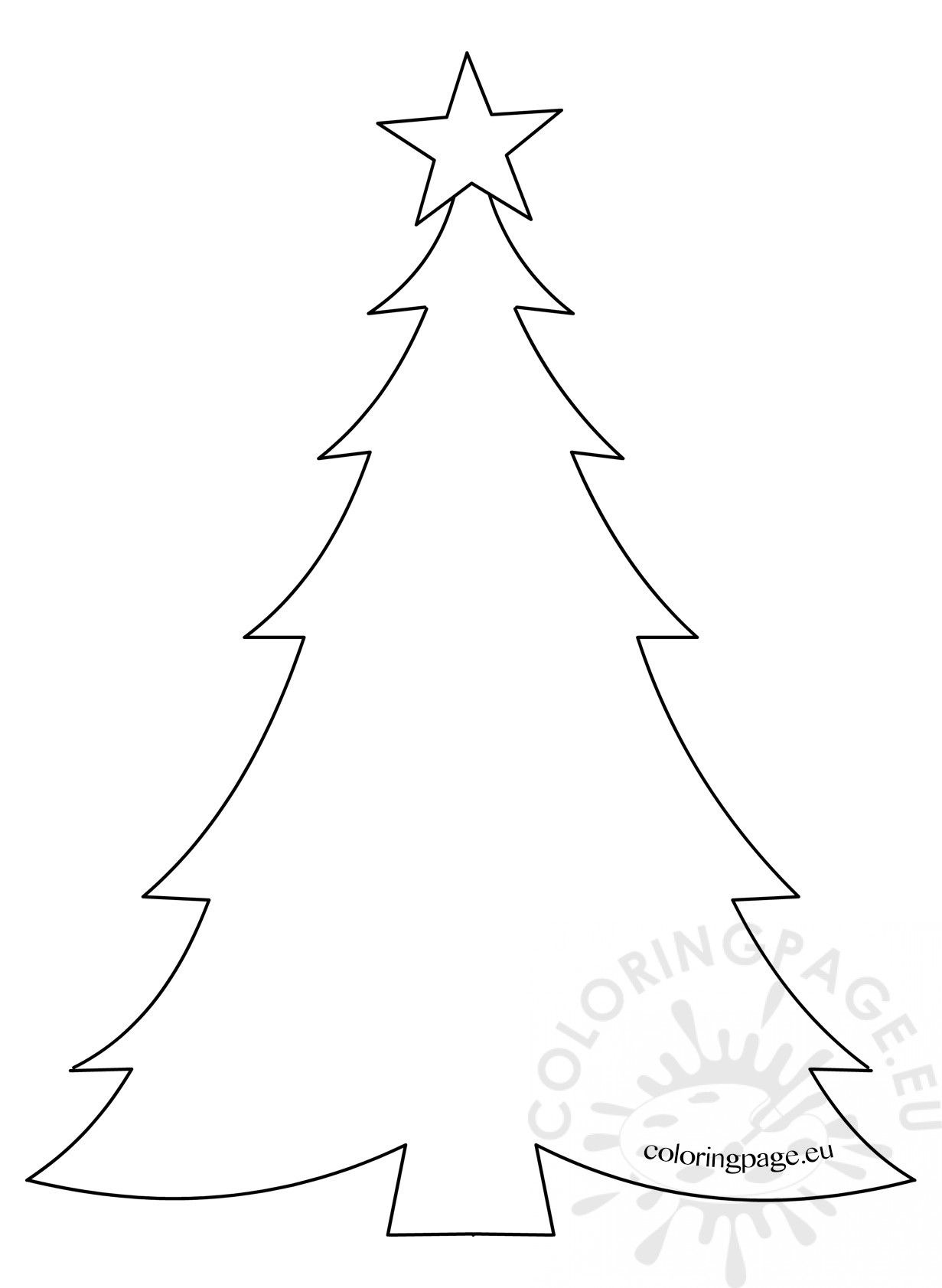 Template Christmas Tree With Star Coloring Page Christmas Tree Coloring Page Christmas Tree Template Tree Coloring Page