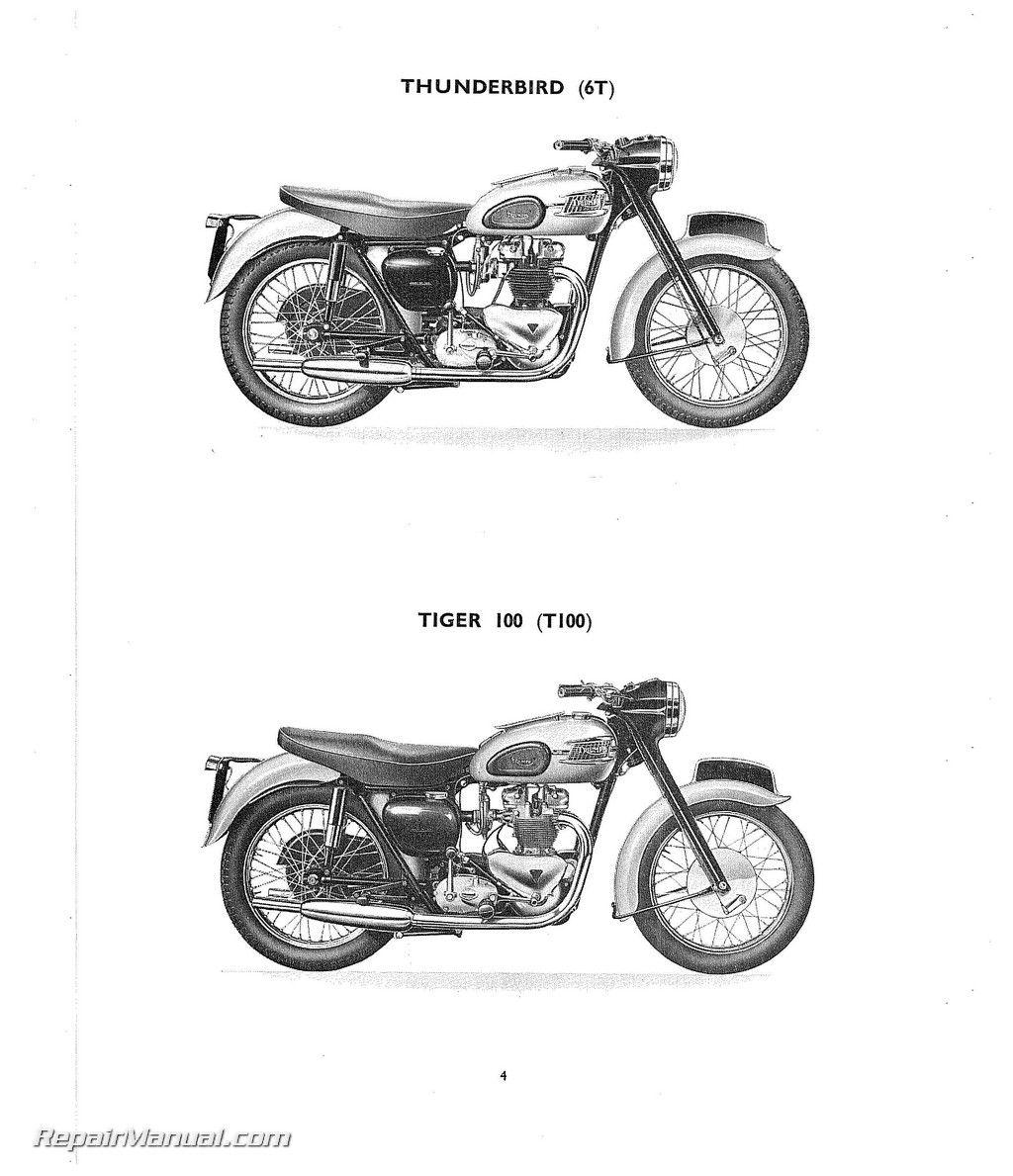 1959 Triumph 6t T100 T110 T120 Tr6 Motorcycle Parts Manual Bikes