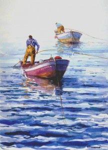 Dos Mariscadores Francis Marrouch Paesaggi Barche