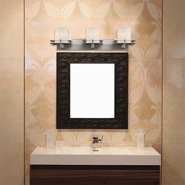 Fusion Brushed Nickel Three-Light Bath Bar with Ribbon Glass - modern - Bathroom Lighting And Vanity Lighting - Bellacor
