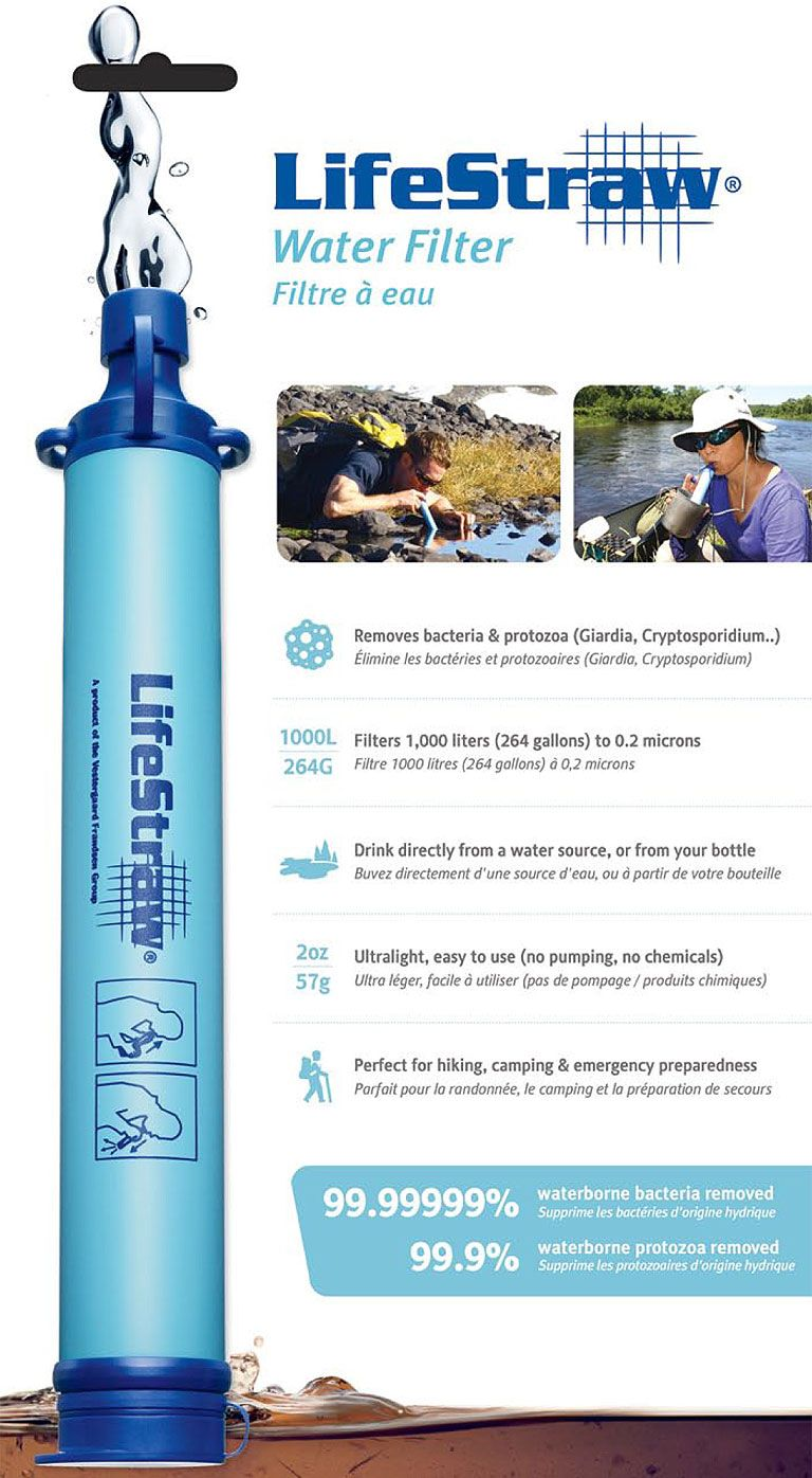 LifeStraw filters down to 0.2 microns, removing 99.9999% ...