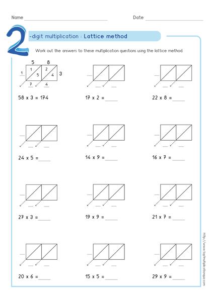 lattice method multiplication examples worksheets test fay pinterest multiplication. Black Bedroom Furniture Sets. Home Design Ideas