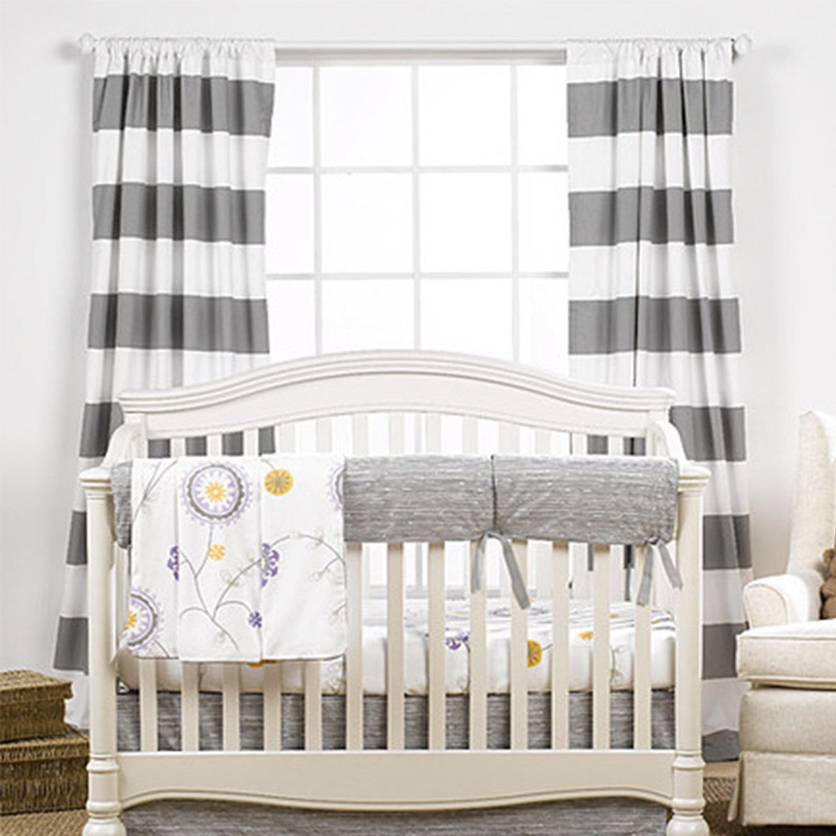 Gray Cabana Stripe Curtains Perfect For A Grey Nursery