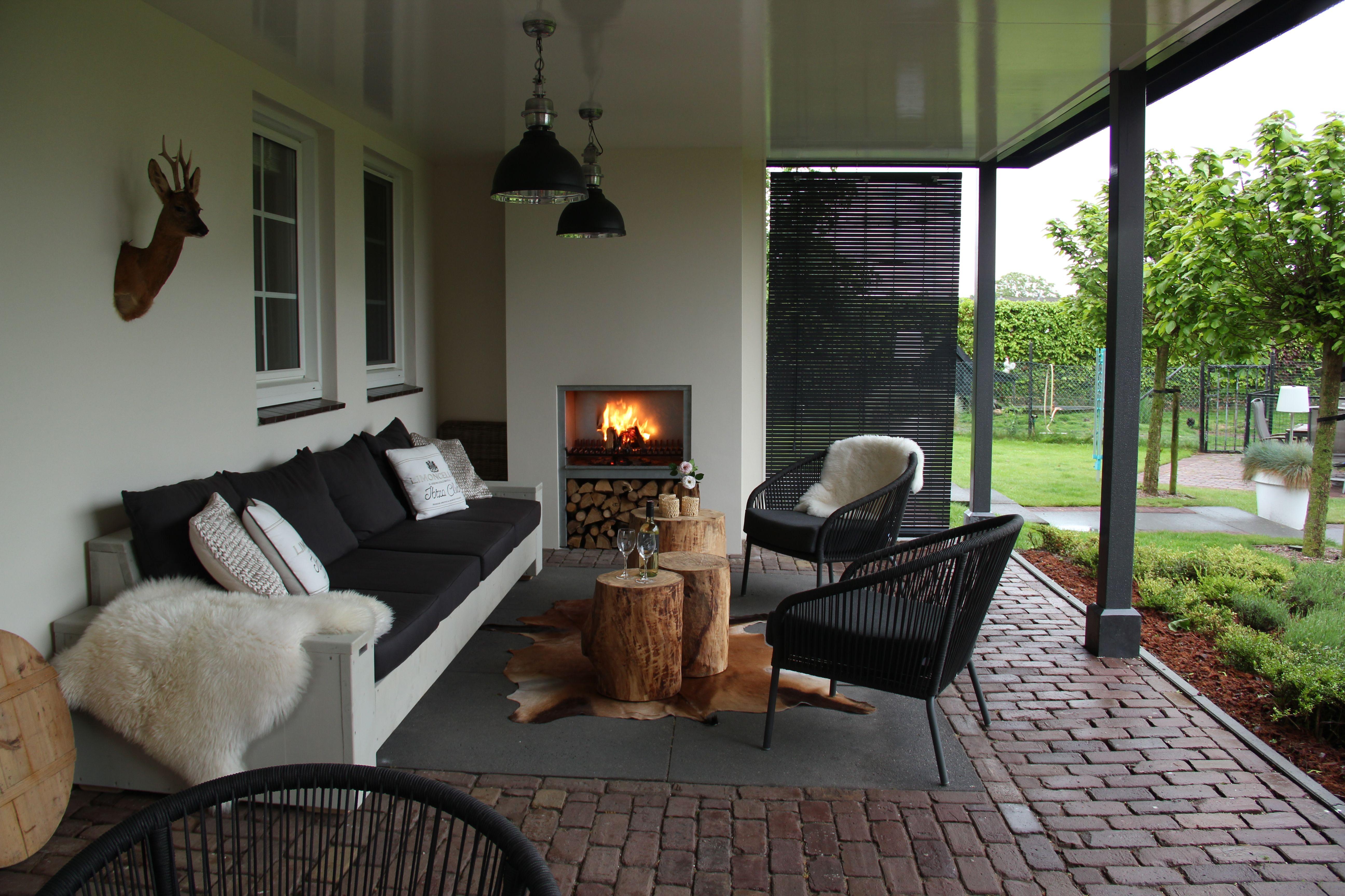 Veranda amazone op maat gemaakt inclusief open haard een for Open veranda design