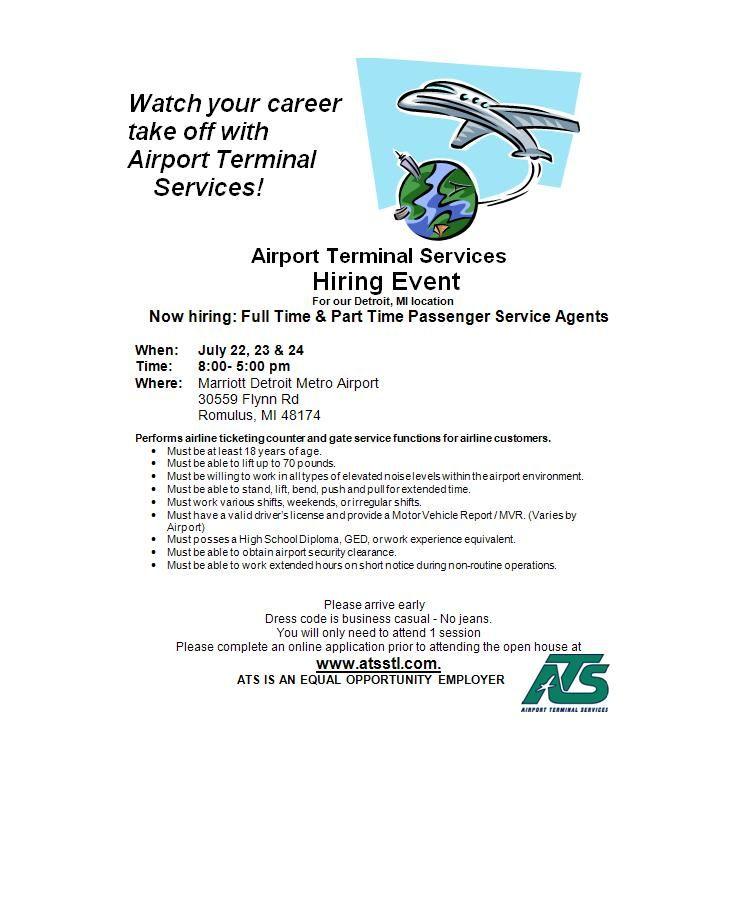 ATS is hiring Passenger Service Agents Hiring Event is July 22-24 - airport passenger service agent sample resume