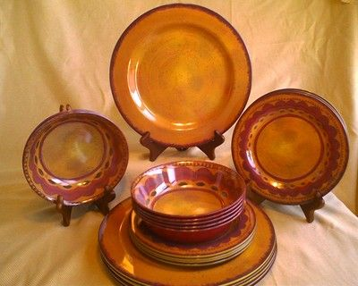 YELLOW Red Tuscan Stoneware Look NEW Melamine Picnic Patio Dish Plate 12 PC  SET